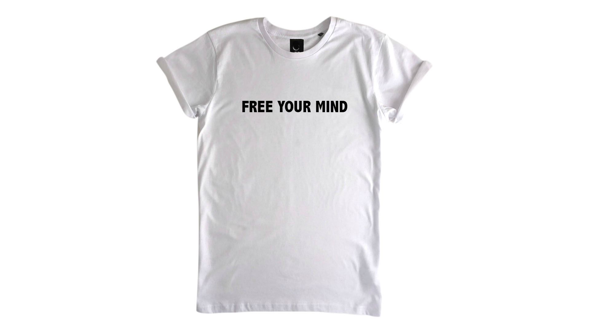 LiveLearn.Yoga Yoga T-Shirt Organic Cotton Free Your Mind White