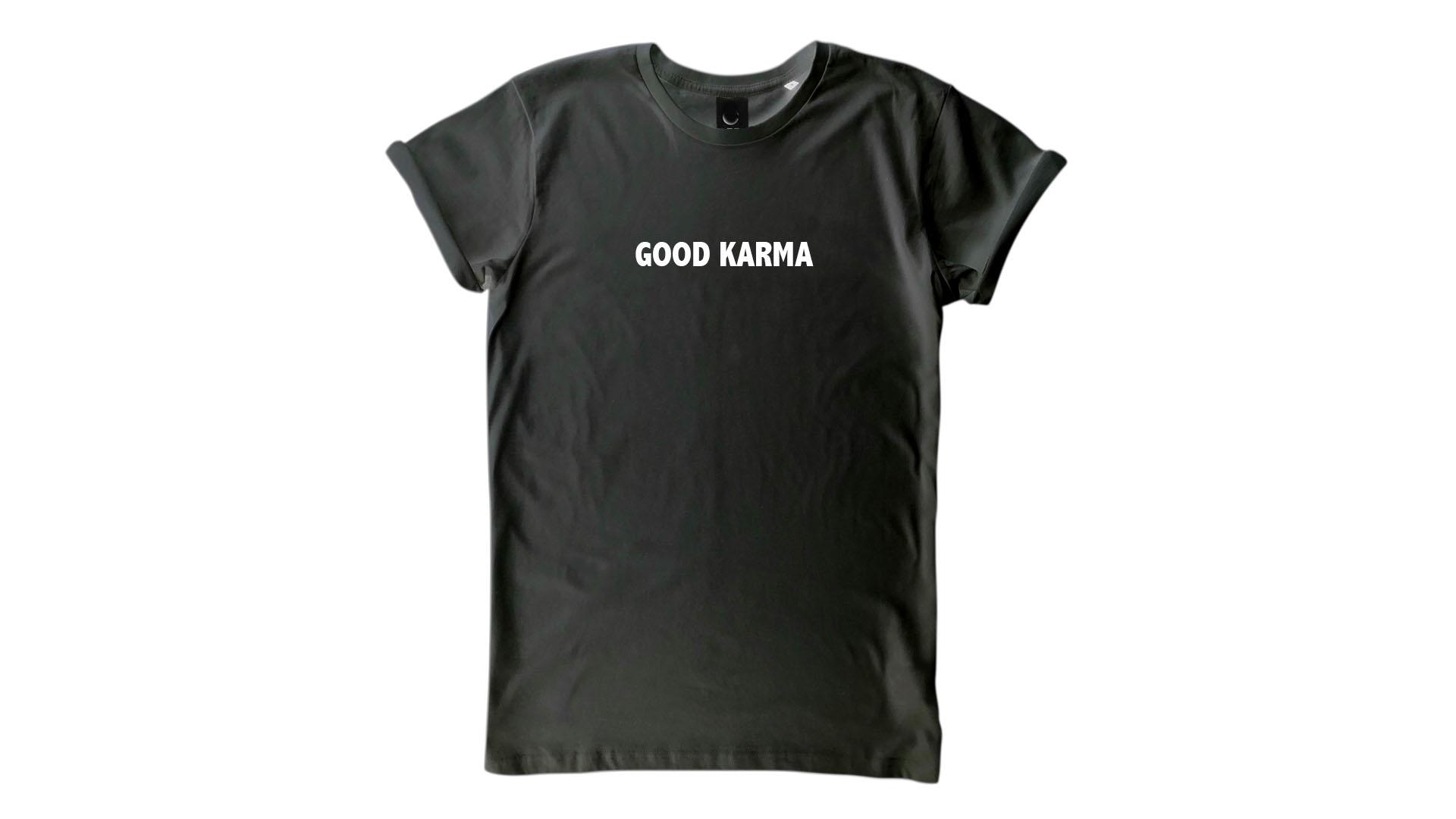 LiveLearn.Yoga Yoga T-Shirt Organic Cotton Good Karma Black