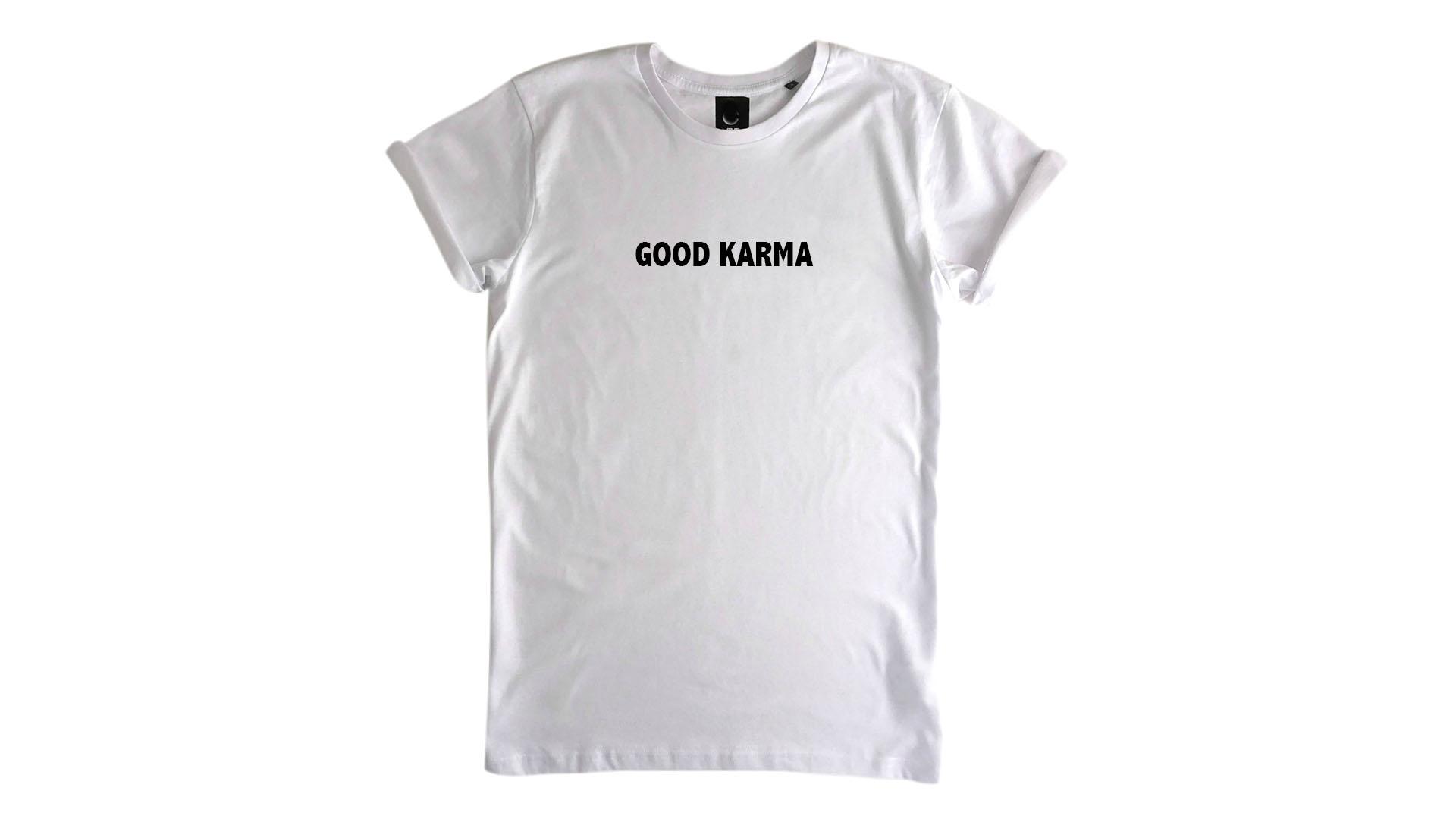 LiveLearn.Yoga Yoga T-Shirt Organic Cotton Good Karma White