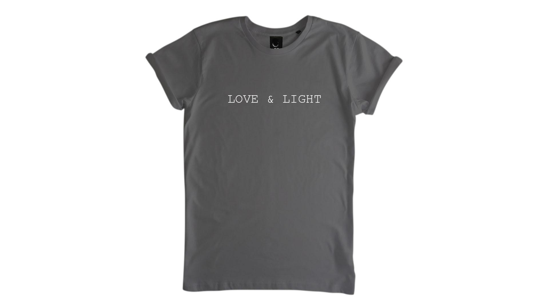 LiveLearn.Yoga Yoga T-Shirt Organic Cotton Love & Light Grey