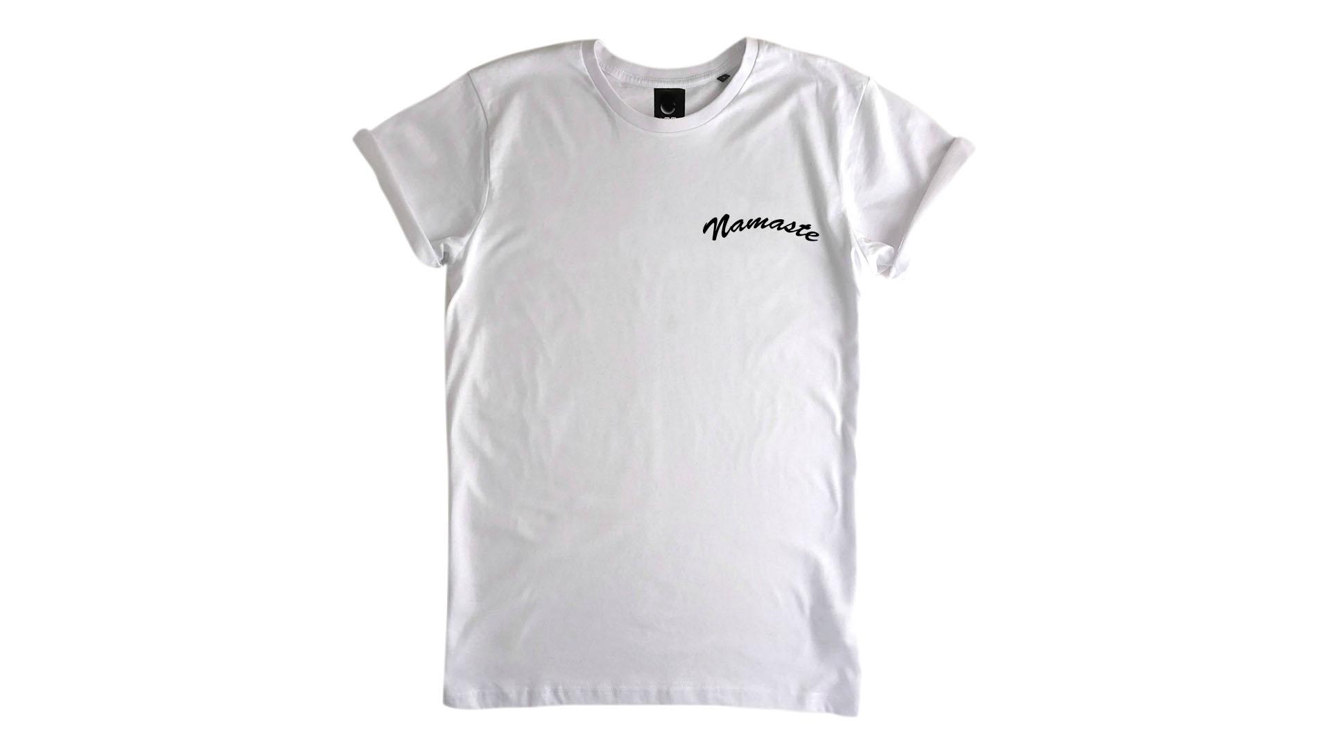LiveLearn.Yoga Yoga T-Shirt Organic Cotton Namaste White