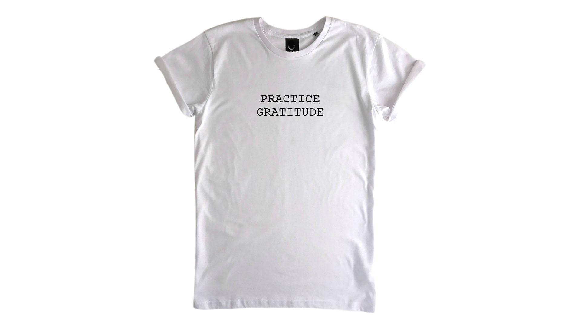 LiveLearn.Yoga Yoga T-Shirt Organic Cotton Practice Gratitude White